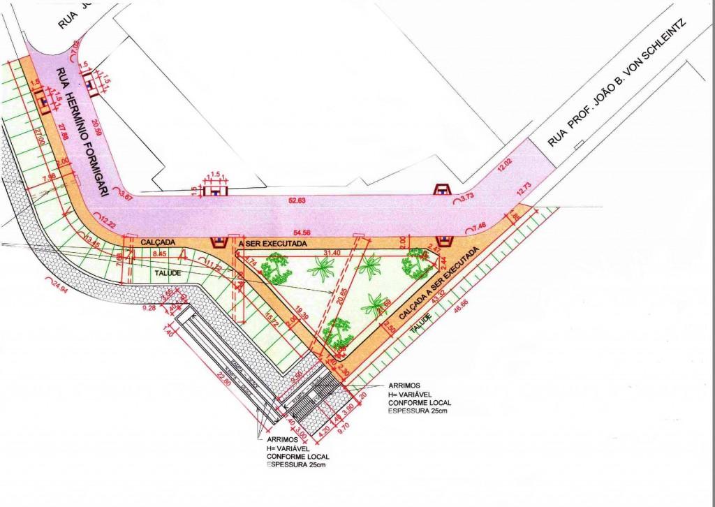Projeto do prolongamento da rua Prof. João Batista Von Schleinitz  e urbanização do entorno