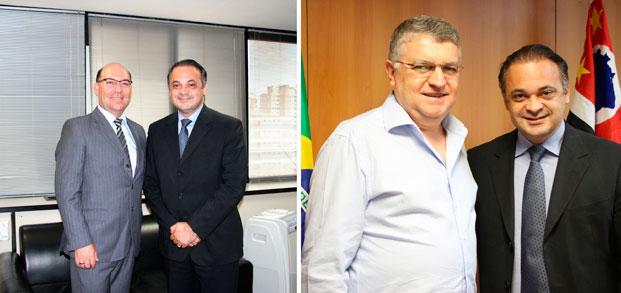À esquerda o prefeito de Vinhedo, Jaime Cruz, e à direita, com o secretário Roberto de Lucena, o prefeito de Louveira Nicolau Finamore
